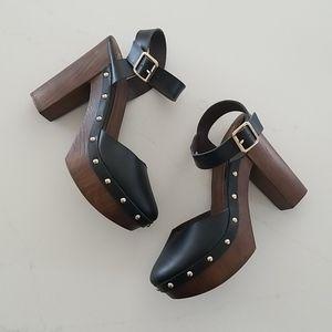 Studed Wooden Platform Shoes